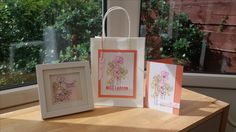 Gift bag and card made using Woodware Long Tall Flowers stamp