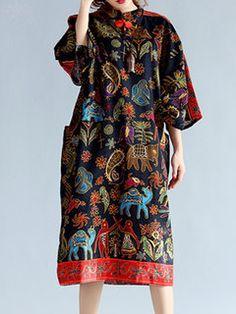 Women Batwing Sleeve Vintage Floral Printed Pocket Loose Dress