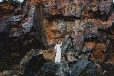 boho bride in lace wedding dress