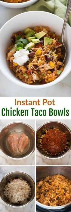 Instant Pot Chicken Taco Bowls : This all in one dinner has quickly become a family favorite! Instant Pot Chicken Taco Bowls all cooked together in one pot with rice, black beans, corn, salsa, chicken and seasonings. instantpot chicken onepot easy via Instant Pot Pressure Cooker, Pressure Cooker Recipes, Slow Cooker, Pressure Cooking, Rice Cooker, Taco Bowls, Burrito Bowls, Easy Appetizer Recipes, Healthy Recipes