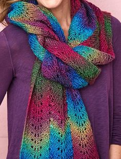 Free Knitting Pattern for Repeat Bargello Scarf - This easy lace scarf is knit with an easy repeat with three columns of color. Designed especially for multi-color yarn by Patty Nance for Red Heart. Crochet Lace Scarf, Crochet Scarves, Lace Knitting, Knitting Stitches, Knit Or Crochet, Crochet Granny, Finger Knitting, Tunisian Crochet, Hand Crochet