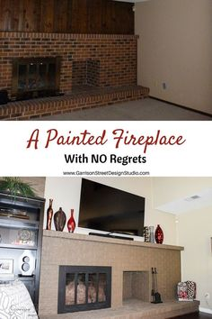 A Painted Fireplace   Garrison Street Design Studio   Before and After   Before & After Fireplace Makeover   Before & After Home Decor   Fireplace Before & After   Before & After Design   Before & After DIY   Before & After Home Makeovers   Before & After Home   Before & After Ideas   Painted Fireplace Before & After