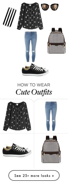 """""""Cute school outfit"""" by lillianintinarelli on Polyvore featuring Velvet, Dorothy Perkins, Converse and Henri Bendel"""