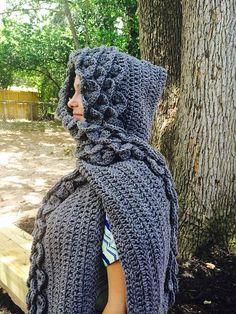 Ravelry: Crocodile/ Dragon Stitch Hooded Scarf pattern by Celeste Richmon Hooded Scarf Pattern, Crochet Hooded Scarf, Crochet Scarves, Knit Crochet, Crochet Hats, Scarf Knit, Double Crochet, Crochet Crocodile Stitch, Crochet Dragon