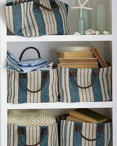 Cottage Stripe Cotton Storage Basket