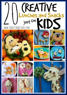 Make eating more fun and healthy for toddlers and kids! A great list of 20 creative lunches and snacks just for kids to help your child become a better eater!