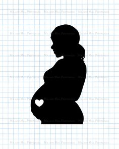 Pregnant clipart pregnancy image scrapbook imagesbelly silhouette instant download black white baby annoucement (0.75 EUR) by MrAndMrsPrintables