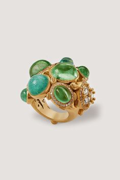 Turtles on the Rocks ring, gold with diamonds and Paraíba tourmalines by Temple St Clair High Jewelry, Luxury Jewelry, Jewelry Accessories, Jewelry Design, Gold Jewelry, Rock Rings, Indian Jewelry, Colored Diamonds, Jewelry Collection