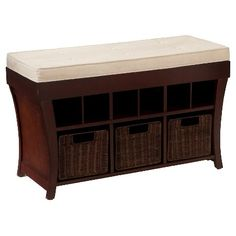 Lawrence Entry Bench with Storage - Espresso with ivory cushion and brown baskets - Southern Enterprises : Target