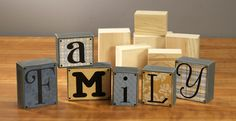 More Creative Wood Arts and Crafts Ideas : Beautiful Room Decor : Beautiful Wooden Craft Letters With Family Memory Letter Blocks