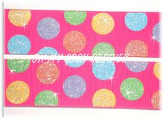 1.5 OVER THE RAINBOW TWINKLE GLITTER DOTS MULTI GROSGRAIN RIBBON 4 HAIRBOW PINK