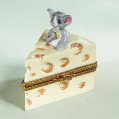 Porcelain mouse with cheese box by Limoges, France