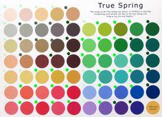 Светло-зеленым я выделила светлые цвета, темно-зеленым - темные, ярко - зеленым - яркие и серым - нейтральные  _________________________________Красота, вдохновленная природой - Работа с палитрой сезона. Палитра Теплая Весна