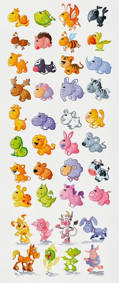 Set of 40 very cute animals like vector fish, cute raindeer, fox, cow, catoon tiger, bee, dog, horse, frog, dancing pig, sheep, snake ant o...