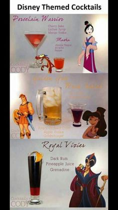 More Disney themed cocktails Non Alcoholic Drinks, Bar Drinks, Cocktail Drinks, Cocktail Recipes, Beverages, Disney Cocktails, Disney Themed Drinks, Pub, Alcohol Drink Recipes