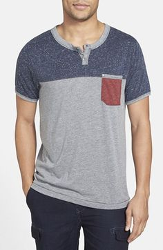 "The pocket Henley.  Jeremiah - 'Nathan Colorblock` Short Sleeve ""Silver Heather"""