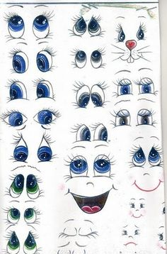 Face painting examples are very useful in the art of face painting. One of the greatest things about face painting examples, is that there are many reference Drawing Eyes, Painting & Drawing, Cartoon Eyes Drawing, Cute Cartoon Eyes, Painting Tips, Rock Painting, Clay Pot Crafts, Paper Crafts, Pintura Tole