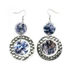 Embossed Hoop Pearlescent Drop Earrings Blue - One Size