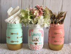 Young wild and three themed birthday party centerpiece, boho mason jar set, includes all 3 pint jars - Etsy - Third Birthday Girl, Wild One Birthday Party, 3rd Birthday Parties, Birthday Ideas, Girls 3rd Birthday, Princess Birthday, Birthday Fun, Birthday Party Centerpieces, Candy Centerpieces