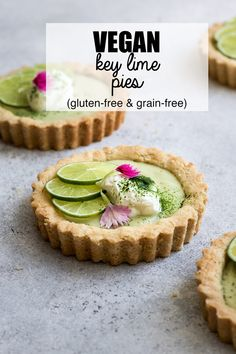 These mini vegan key lime pies make the absolute best vegan key lime pie recipe! This recipe is easy to make and requires no dairy. These mini pies are also gluten-free, grain-free and refined-sugar free for a healthy dessert! #keylime #pie #keylimepie #vegan #vegandessert #vegankeylimepie #tarts #minitart #coconut