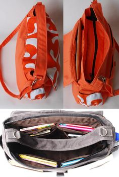 Would make a great diaper bag or just an everyday bag if you carry a lot of stuff.  Love both the orange and gray colors...and that the material is water resistant.
