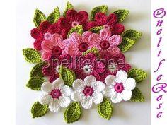 Crochet Flowers Design Free Crochet Patterns to Print Crochet Puff Flower, Knitted Flowers, Crochet Flower Patterns, Knitting Patterns, Yarn Flowers, Crochet Roses, Flower Applique, Crochet Motifs, Crochet Stitches