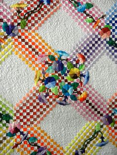 close up, Complex Irish Chain by Beth Nufer of Brookings, Oregon. Longarm quilted by Joann Hoffman.  Photo by Barbara D. Schaffer