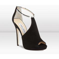 Jimmy Choo Freya Black Suede Peep Toe Sandals ($1,595) ❤ liked on Polyvore