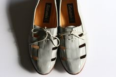 Mens grey leather shoes