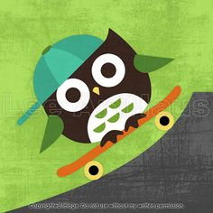104B Bright Owl Skateboarding 6x6 Print by leearthaus on Etsy