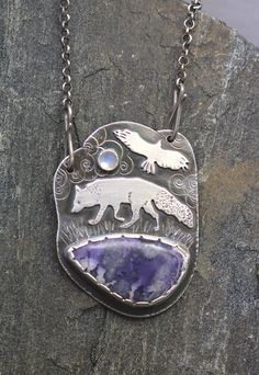 Sterling Silver Necklace, Purple Tiffany Stone, Moonstone, Fox and Hawk Story Necklace, Art Jewelry, 18 inches on Etsy, $450.00