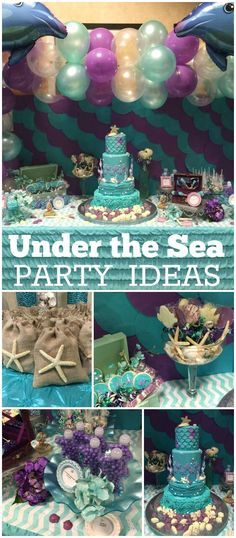 An elaborate under the sea themed birthday party with amazing party decorations and cake! See more party planning ideas at CatchMyParty.com!