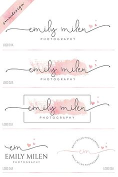 Premade branding kit, heart logo and watermark, Photography logo, script logo design, wedding logo, watercolor logo, business logo stamp, 38 by savanammdesign on Etsy https://www.etsy.com/au/listing/515420050/premade-branding-kit-heart-logo-and