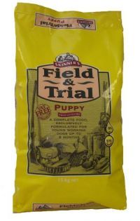 £26.96 - Field & Trial Puppy food is specifically formulated to meet the nutritional requirements of puppies and   young working dogs during their first and most crucial stages of development.    By feeding Field & Trial Puppy food from weaning up to approximately nine months of age, you will   ensure that your puppy receives all the proteins, carbohydrates, vitamins, minerals and oils which   are essential for steady growth.