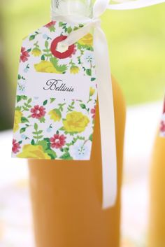 Make your own bellini bar at a garden bridal shower brunch. Such a fun idea!