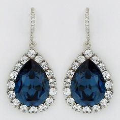 Haute Bride Blue Fancy Teardrop Earrings, Wedding, Crystal