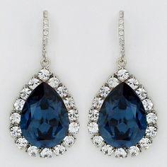 Haute Bride Blue Fancy Teardrop Earrings, Wedding, Crystal