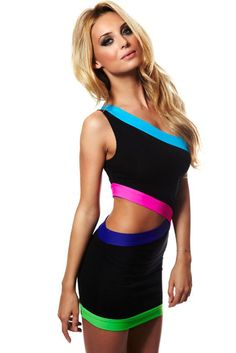 Celeb Style White & Black Cut out Sexy Club Dress with Neon Trim One Shouder