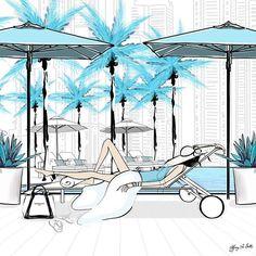 Lazy Days Dubai Resort Illustration by Tiffany La Belle www.tiffanylabelle.com