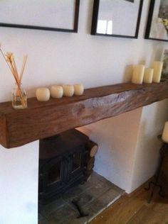 "Solid oak beam 6x6"" mock reclaimed,floating beam,fireplace,woodburner,shelf"