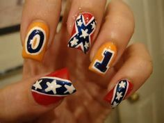 Rebel flag/Dukes of Hazzard country girl nail art. I love these!!