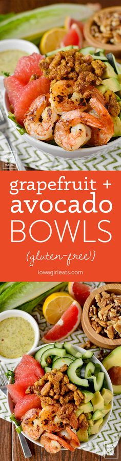 Grapefruit   Avocado Bowls are fresh and healthy, with a delicious and addicting, easy walnut topping! #glutenfree | iowagirleats.com
