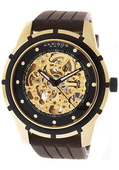 Akribos XXIV Automatic Gold Tone Skeletal Dial Brown Rubber Watch - $104.99