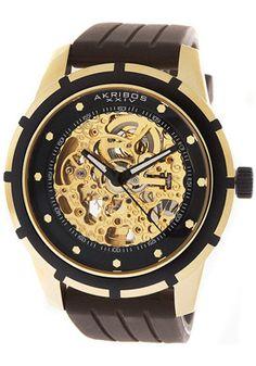 Akribos XXIV Automatic Gold Tone Skeletal Dial Brown Rubber Watch - $104.99