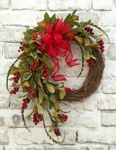 Red Berry Wreath, Christmas Wreath, Fall Wreath for Door, Front Door Wreath,Silk Wreath,Grapevine Wreath,Autumn Wreath,Fall Decor by AdorabellaWreaths on Etsy