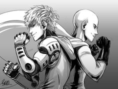 OPM One Punch Man - Genos and Saitama by kingsdarga