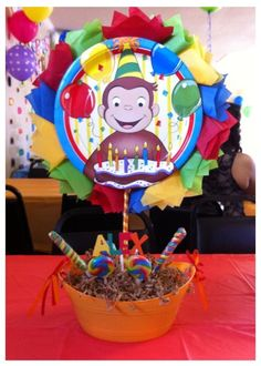 The post Curious George centerpiece. appeared first on Paris Disneyland Pictures. Carnival Birthday Parties, First Birthday Parties, First Birthdays, Curious George Party, Curious George Birthday, Baby Boy 1st Birthday, Birthday Bash, Birthday Ideas, Birthday Stuff