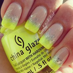 Hate these colors, but love the idea of a color French tip with glitter over the transition line