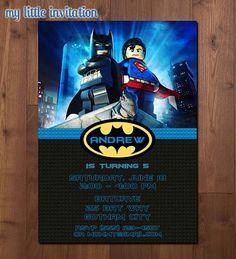 Lego Batman and Superman Superhero Birthday by MyLittleInvitation