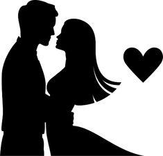 Imagens Dia dos Namorados 74 Bride And Groom Silhouette, Couple Silhouette, Silhouette Clip Art, Silhouette Design, Pencil Art Drawings, Art Drawings Sketches, Wedding String Art, Couple Drawings, Couple Art